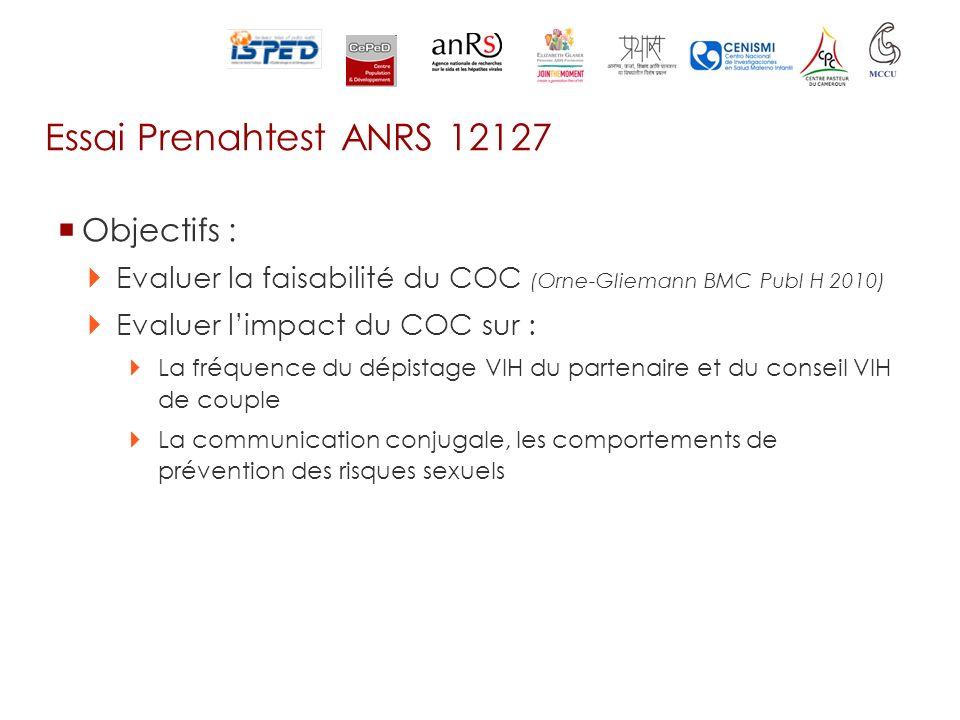 Essai Prenahtest ANRS 12127 Objectifs : Evaluer la faisabilité du COC (Orne-Gliemann BMC Publ H 2010) Evaluer limpact du COC sur : La fréquence du dép