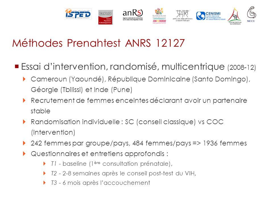 Méthodes Prenahtest ANRS 12127 Essai dintervention, randomisé, multicentrique (2008-12) Cameroun (Yaoundé), République Dominicaine (Santo Domingo), Gé