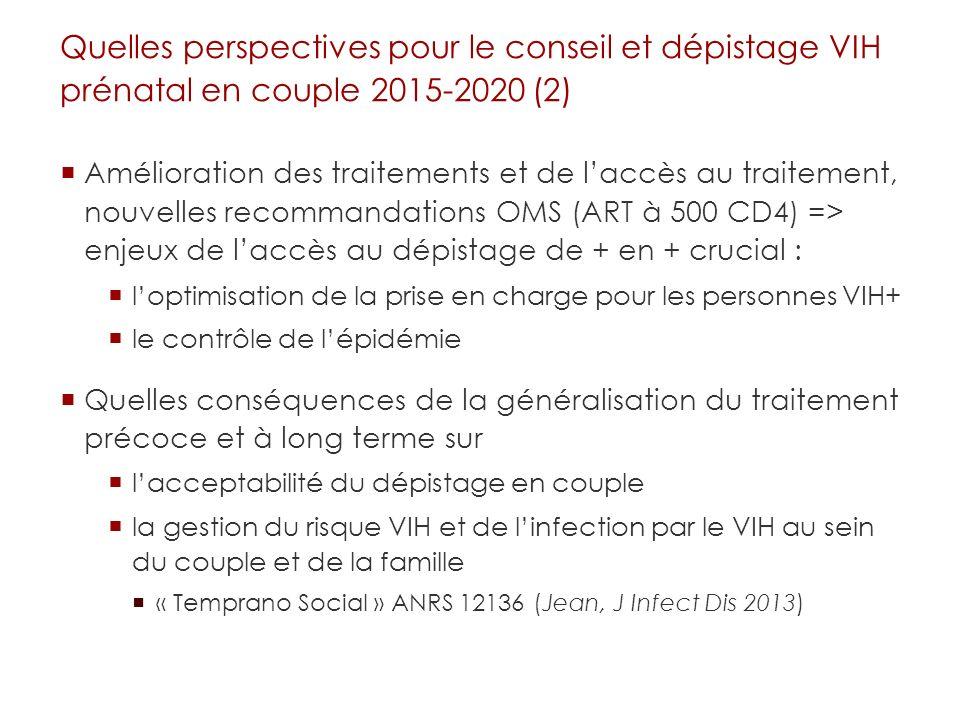 Quelles perspectives pour le conseil et dépistage VIH prénatal en couple 2015-2020 (2) Amélioration des traitements et de laccès au traitement, nouvel