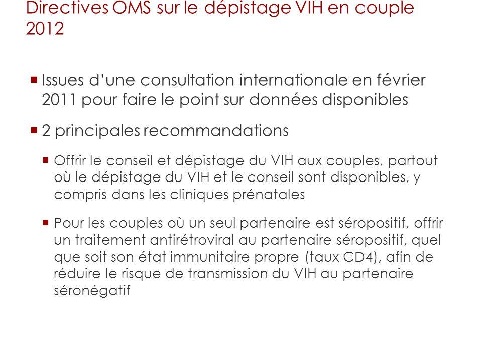 Directives OMS sur le dépistage VIH en couple 2012 Issues dune consultation internationale en février 2011 pour faire le point sur données disponibles