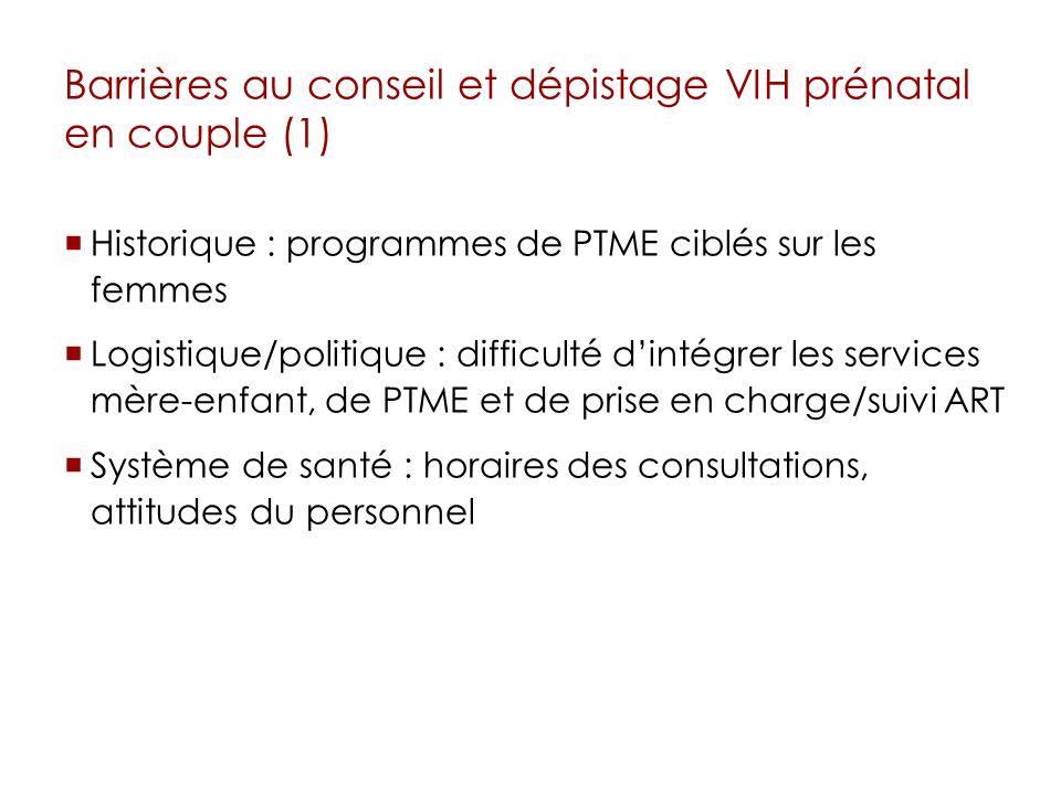 Barrières au conseil et dépistage VIH prénatal en couple (1) Historique : programmes de PTME ciblés sur les femmes Logistique/politique : difficulté d