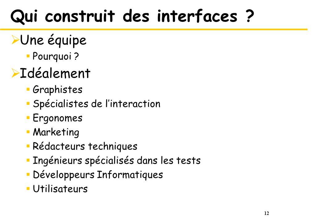 12 Qui construit des interfaces ? Une équipe Pourquoi ? Idéalement Graphistes Spécialistes de linteraction Ergonomes Marketing Rédacteurs techniques I