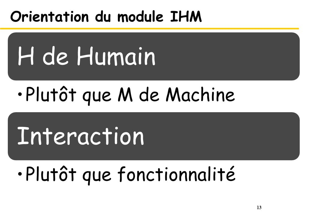 13 Orientation du module IHM H de Humain Plutôt que M de Machine Interaction Plutôt que fonctionnalité
