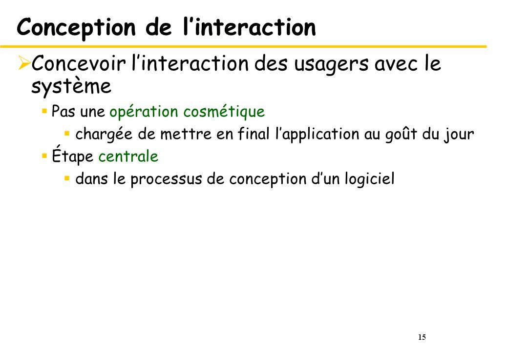 15 Conception de linteraction Concevoir linteraction des usagers avec le système Pas une opération cosmétique chargée de mettre en final lapplication
