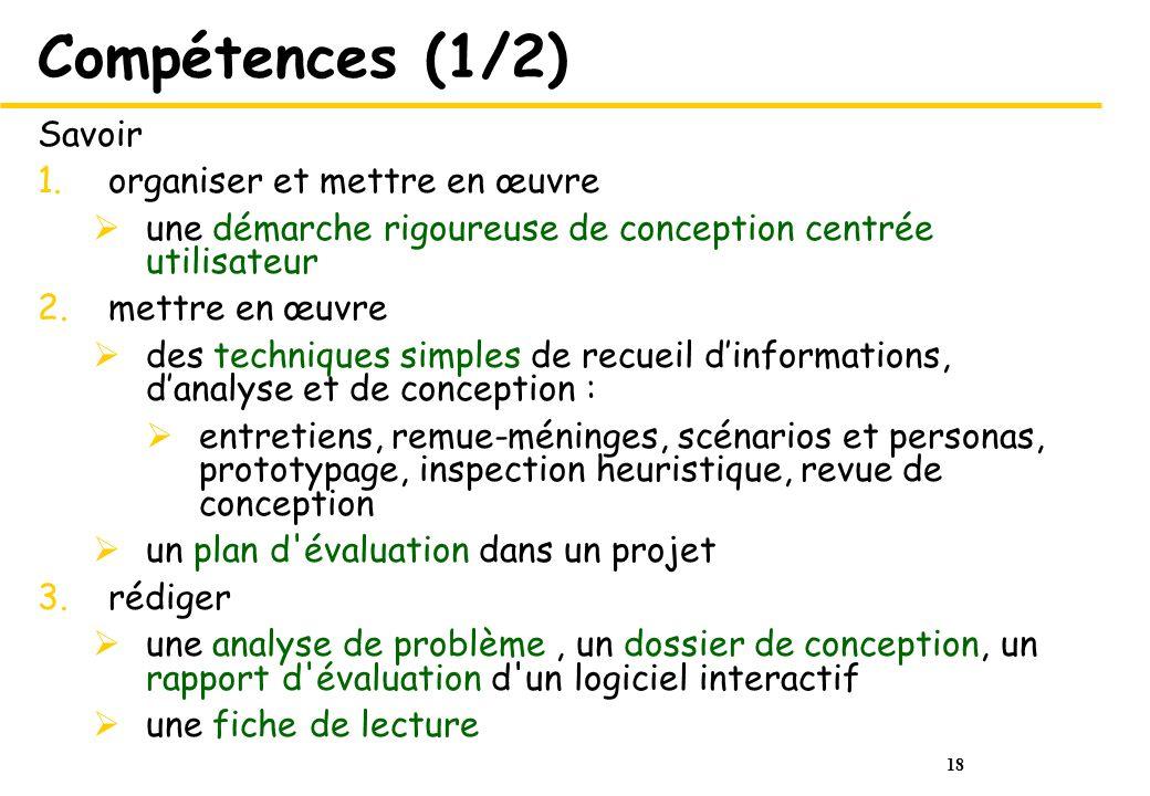 18 Compétences (1/2) Savoir 1.organiser et mettre en œuvre une démarche rigoureuse de conception centrée utilisateur 2.mettre en œuvre des techniques