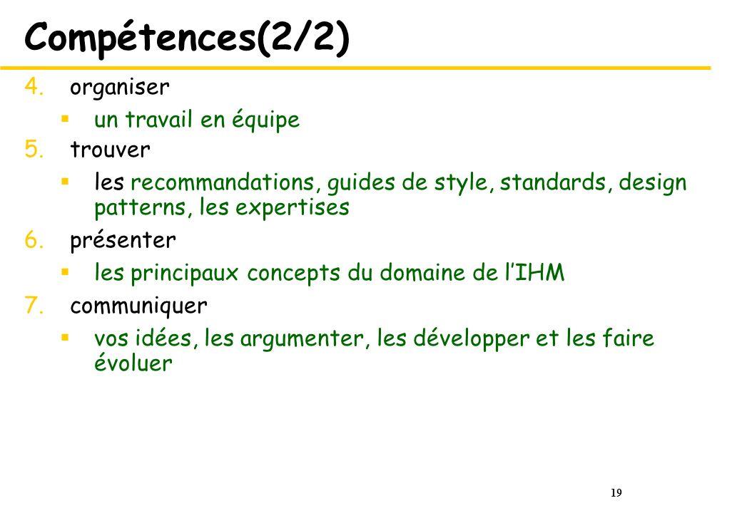 19 Compétences(2/2) 4.organiser un travail en équipe 5.trouver les recommandations, guides de style, standards, design patterns, les expertises 6.prés