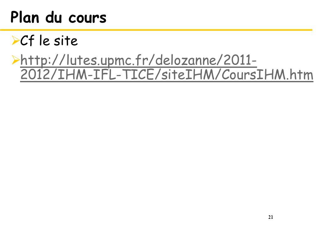 21 Plan du cours Cf le site http://lutes.upmc.fr/delozanne/2011- 2012/IHM-IFL-TICE/siteIHM/CoursIHM.htm http://lutes.upmc.fr/delozanne/2011- 2012/IHM-