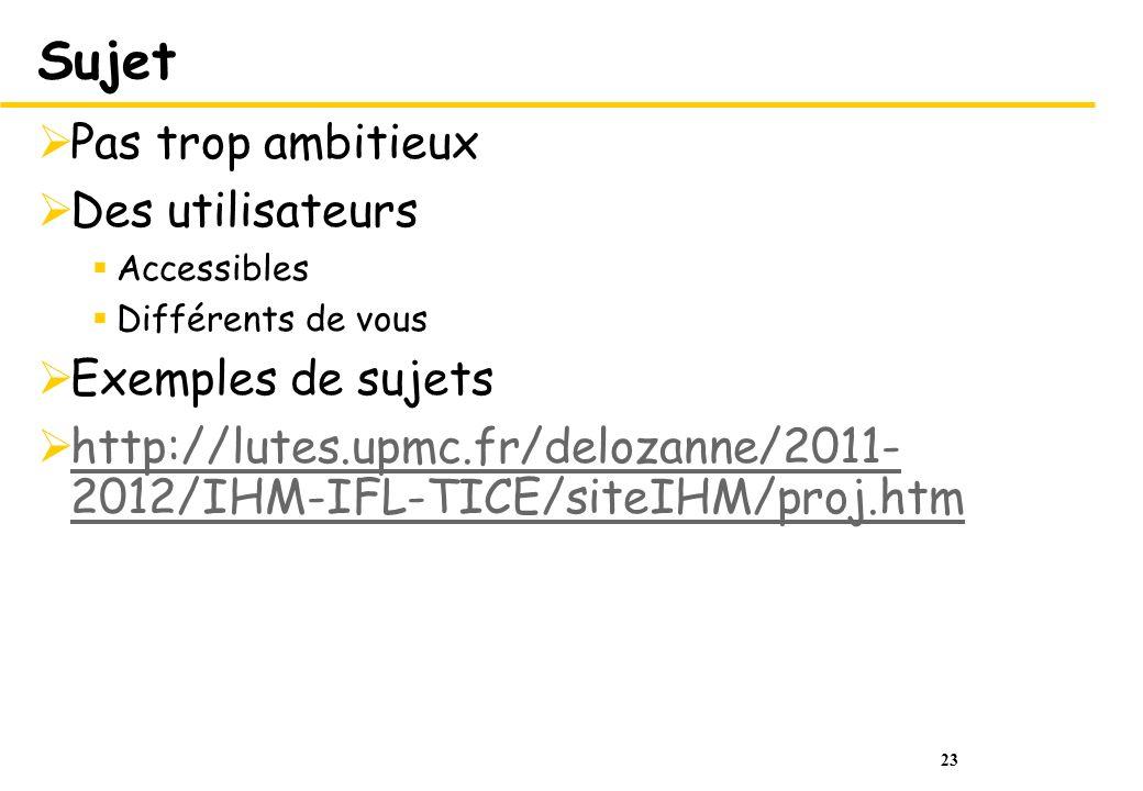 23 Sujet Pas trop ambitieux Des utilisateurs Accessibles Différents de vous Exemples de sujets http://lutes.upmc.fr/delozanne/2011- 2012/IHM-IFL-TICE/