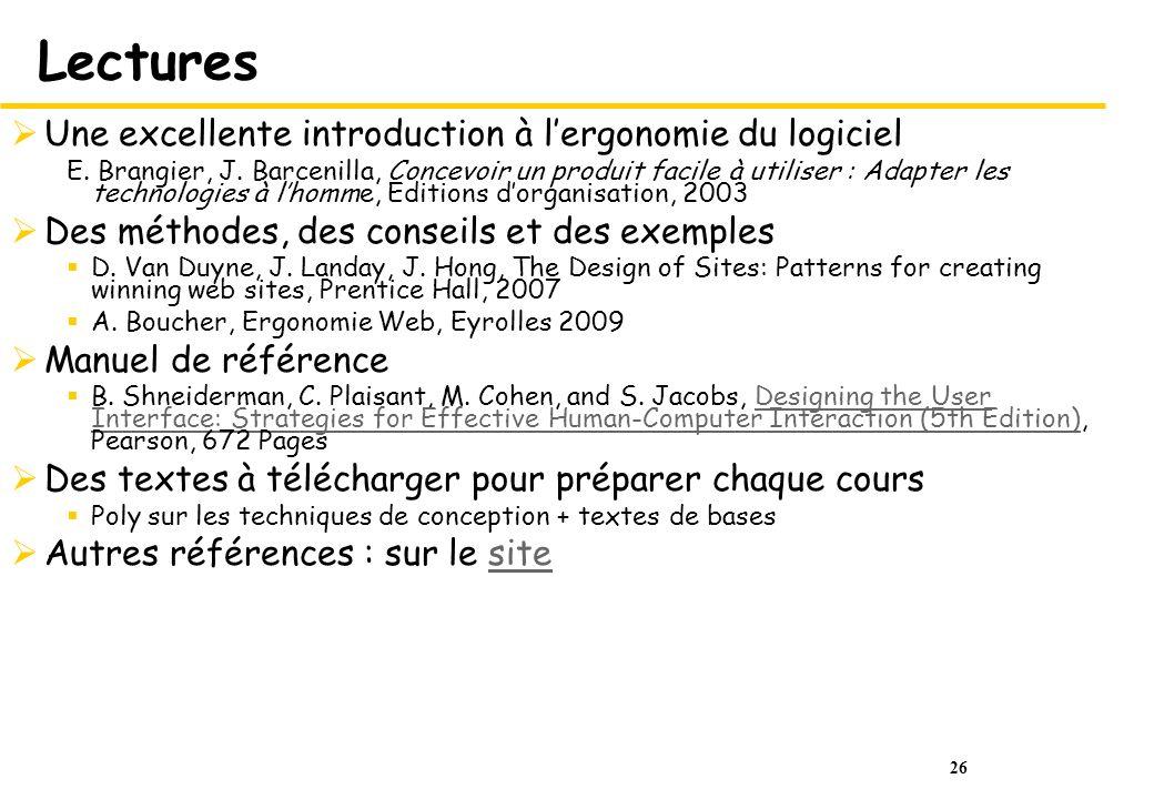 26 Lectures Une excellente introduction à lergonomie du logiciel E. Brangier, J. Barcenilla, Concevoir un produit facile à utiliser : Adapter les tech