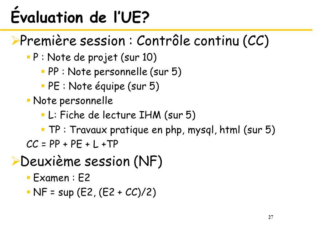 27 Évaluation de lUE? Première session : Contrôle continu (CC) P : Note de projet (sur 10) PP : Note personnelle (sur 5) PE : Note équipe (sur 5) Note