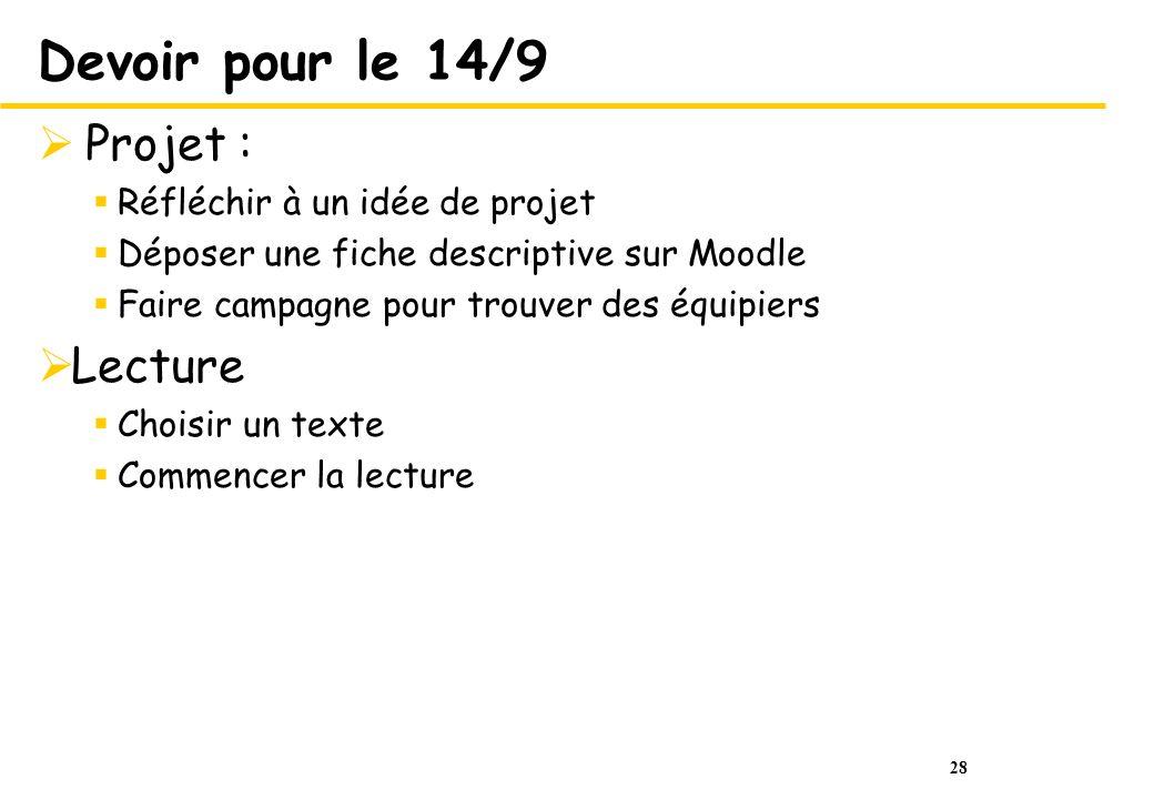 28 Devoir pour le 14/9 Projet : Réfléchir à un idée de projet Déposer une fiche descriptive sur Moodle Faire campagne pour trouver des équipiers Lectu