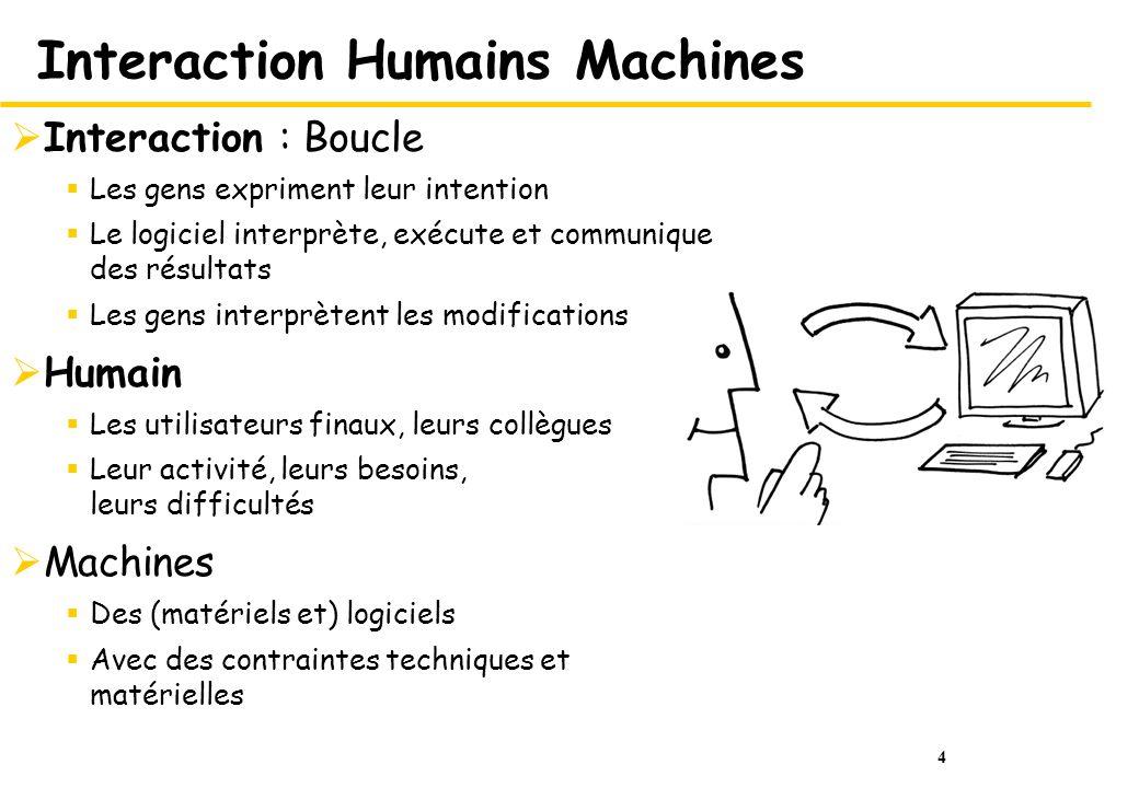 4 Interaction Humains Machines Interaction : Boucle Les gens expriment leur intention Le logiciel interprète, exécute et communique des résultats Les