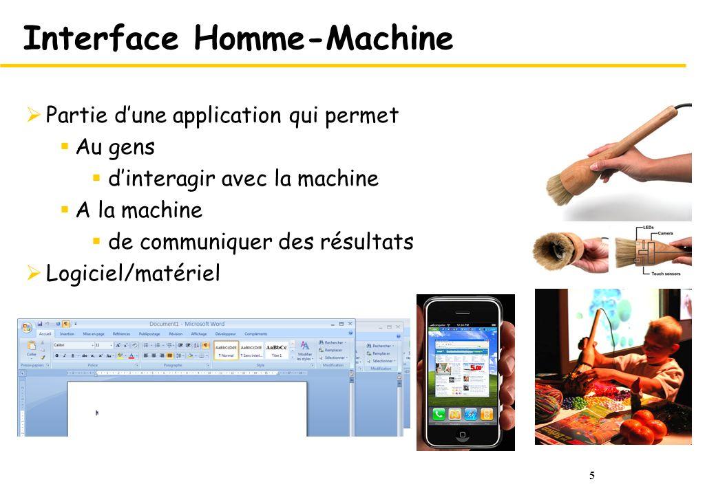 5 Interface Homme-Machine Partie dune application qui permet Au gens dinteragir avec la machine A la machine de communiquer des résultats Logiciel/mat