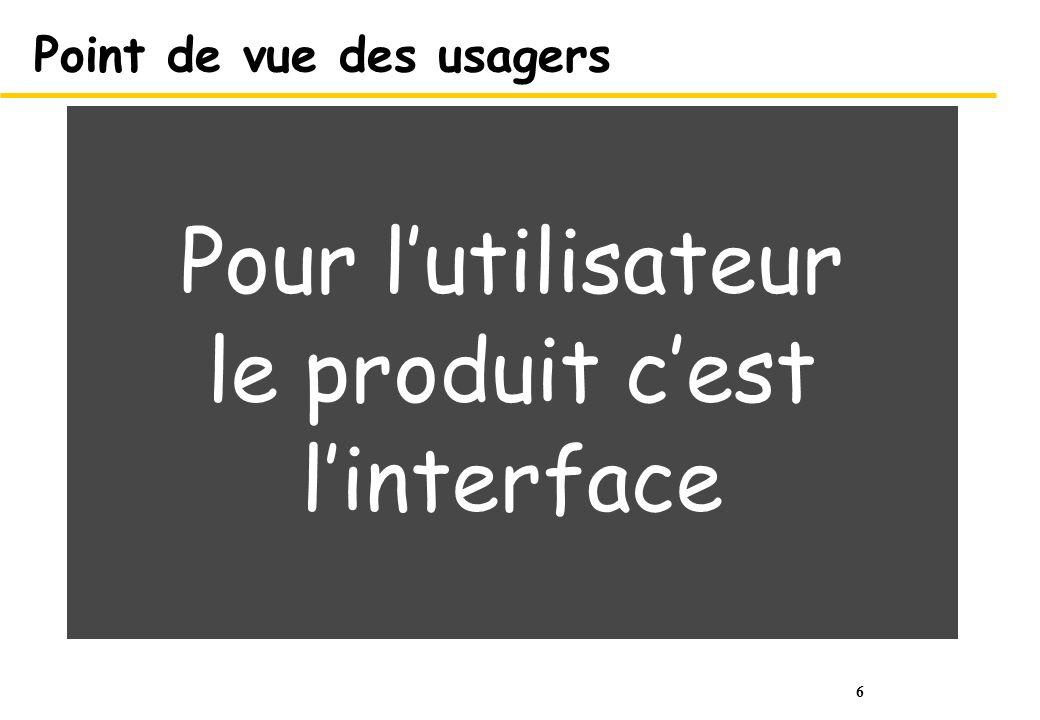 6 Point de vue des usagers Pour lutilisateur le produit cest linterface