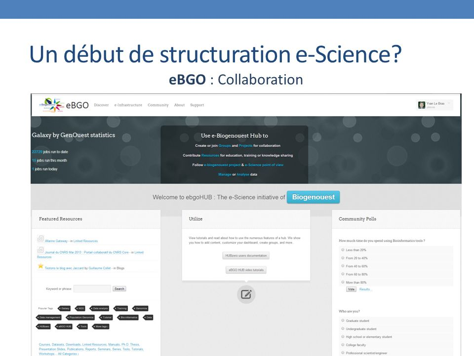 Un début de structuration e-Science eBGO : Collaboration