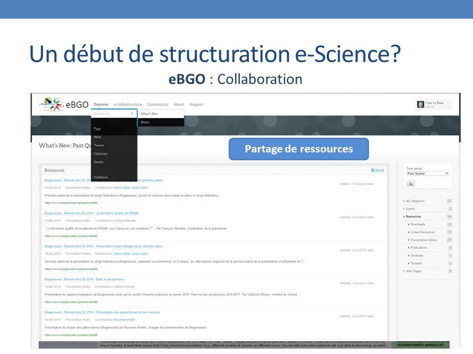 Un début de structuration e-Science eBGO : Collaboration Partage de ressources