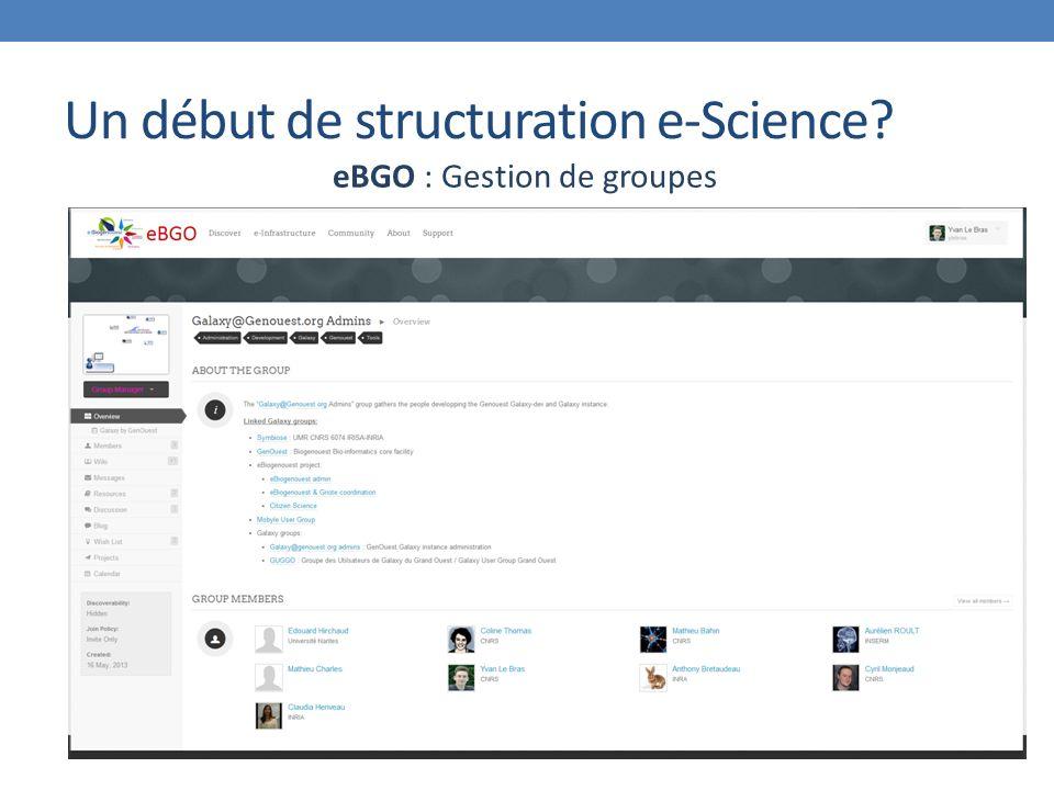 Un début de structuration e-Science eBGO : Gestion de groupes
