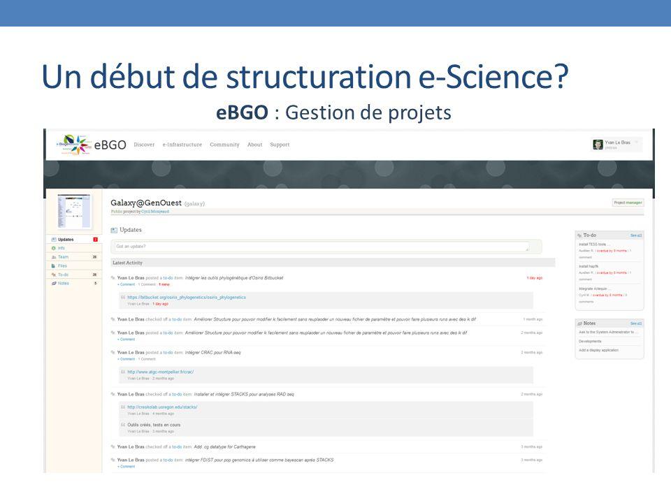 Un début de structuration e-Science eBGO : Gestion de projets