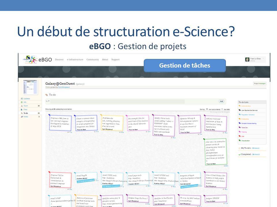 Un début de structuration e-Science eBGO : Gestion de projets Gestion de tâches