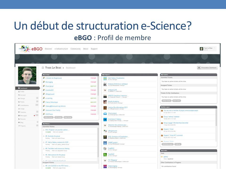 Un début de structuration e-Science eBGO : Profil de membre
