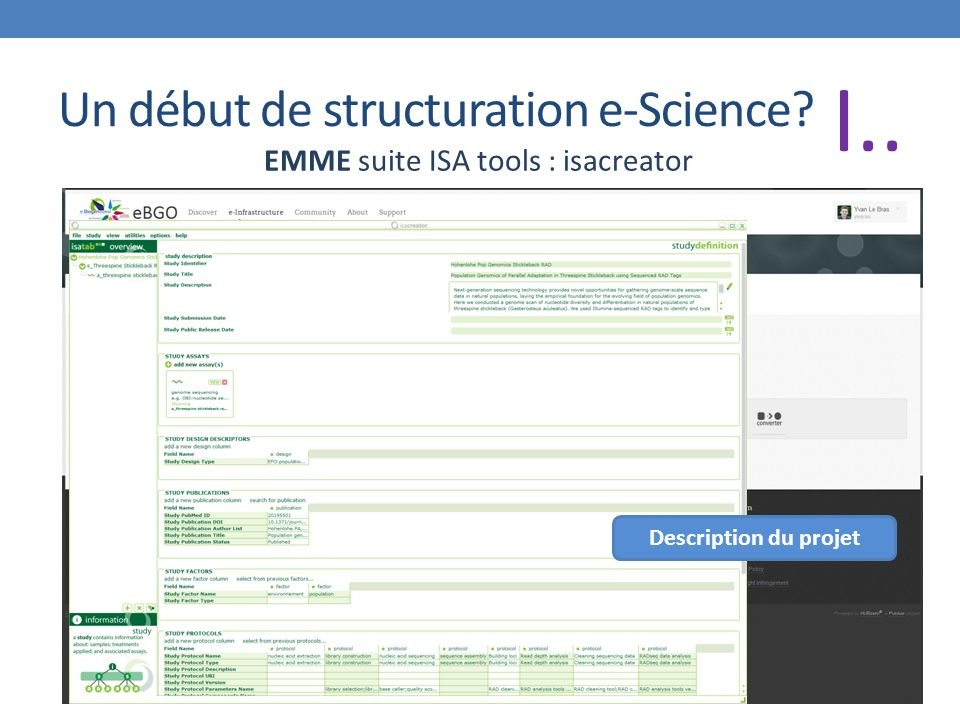 Un début de structuration e-Science EMME suite ISA tools : isacreator Description du projet I..