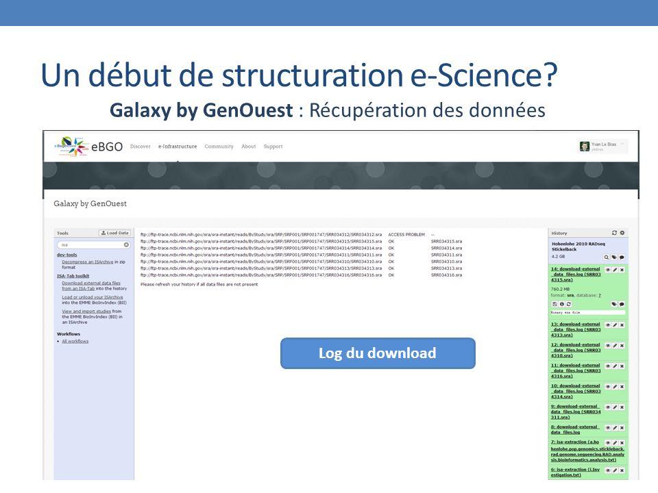 Un début de structuration e-Science? Galaxy by GenOuest : Récupération des données Log du download