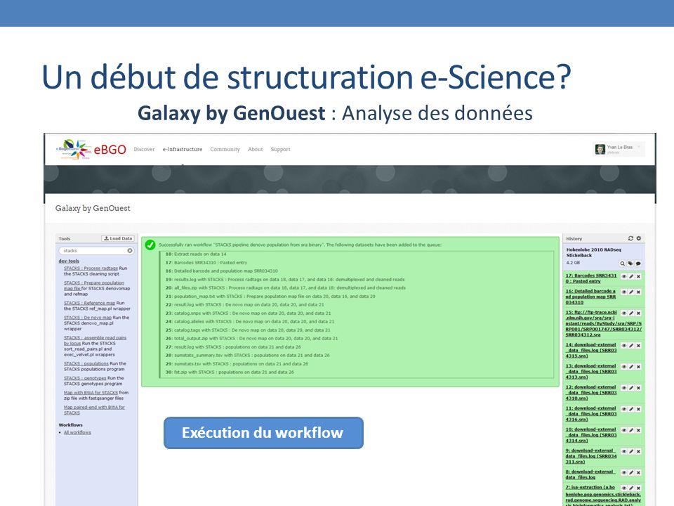 Un début de structuration e-Science Galaxy by GenOuest : Analyse des données Exécution du workflow