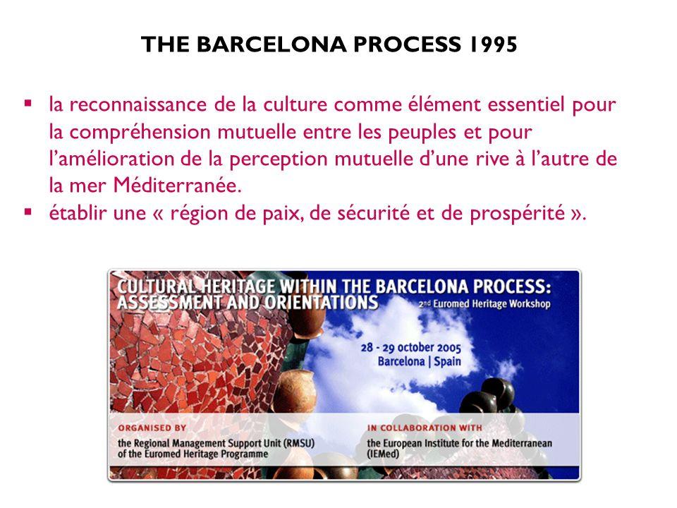 THE BARCELONA PROCESS 1995 la reconnaissance de la culture comme élément essentiel pour la compréhension mutuelle entre les peuples et pour lamélioration de la perception mutuelle dune rive à lautre de la mer Méditerranée.
