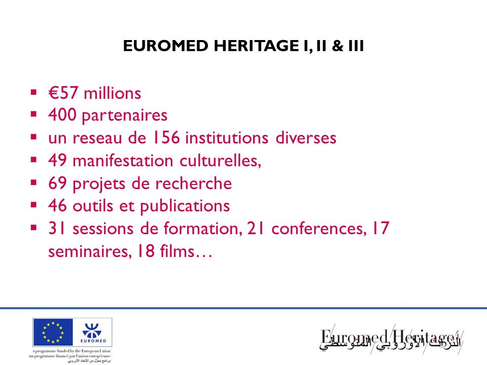 EUROMED HERITAGE I, II & III 57 millions 400 partenaires un reseau de 156 institutions diverses 49 manifestation culturelles, 69 projets de recherche 46 outils et publications 31 sessions de formation, 21 conferences, 17 seminaires, 18 films…