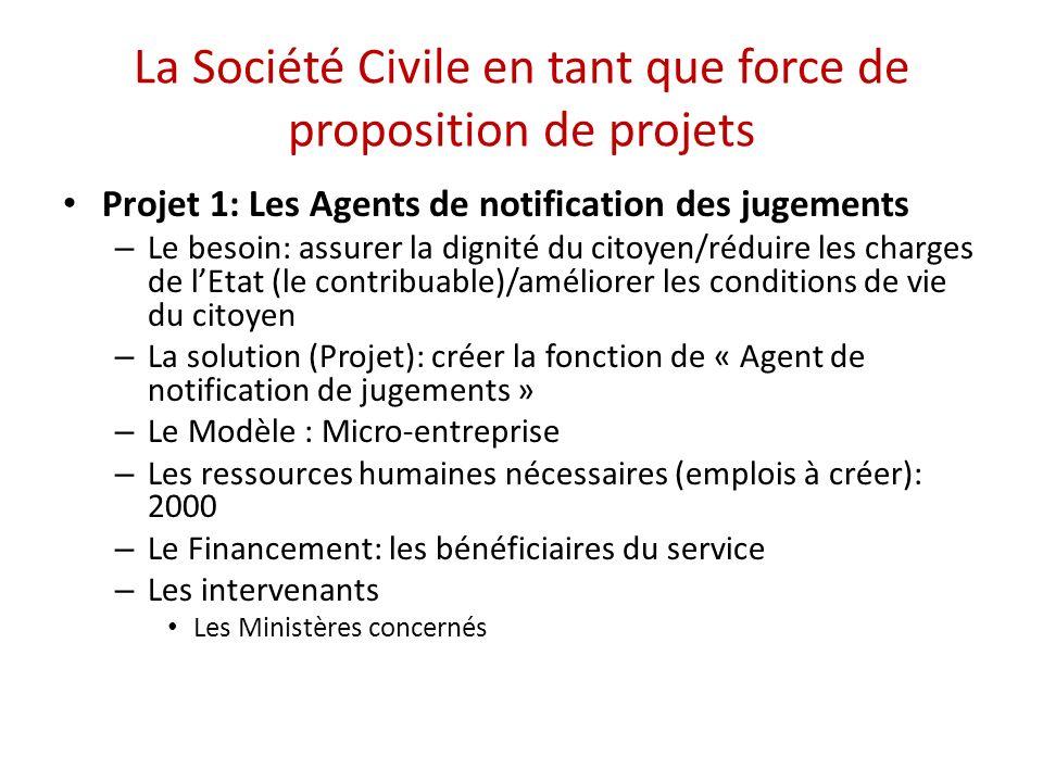 La Société Civile en tant que force de proposition de projets Projet 1: Les Agents de notification des jugements – Le besoin: assurer la dignité du ci
