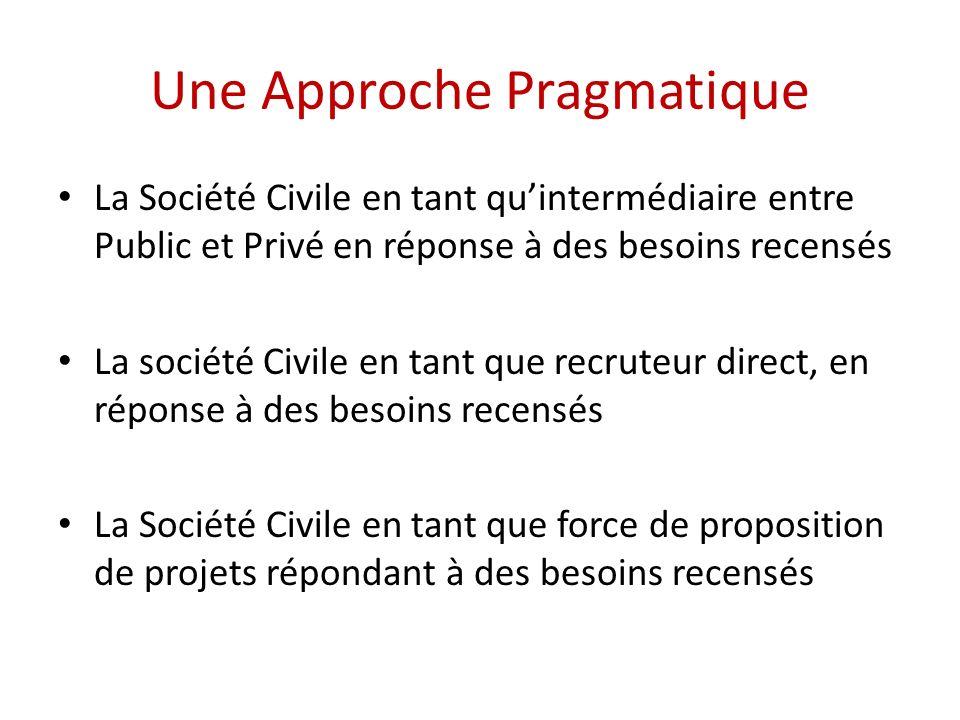 Une Approche Pragmatique La Société Civile en tant quintermédiaire entre Public et Privé en réponse à des besoins recensés La société Civile en tant q