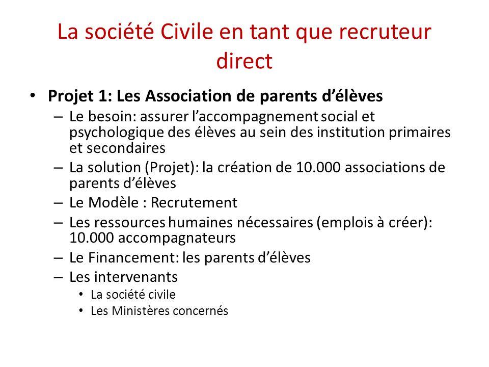 La société Civile en tant que recruteur direct Projet 1: Les Association de parents délèves – Le besoin: assurer laccompagnement social et psychologiq