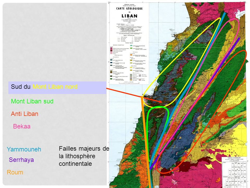Sud du Mont Liban nord Mont Liban sud Anti Liban Bekaa Yammouneh Roum Serrhaya Failles majeurs de la lithosphère continentale