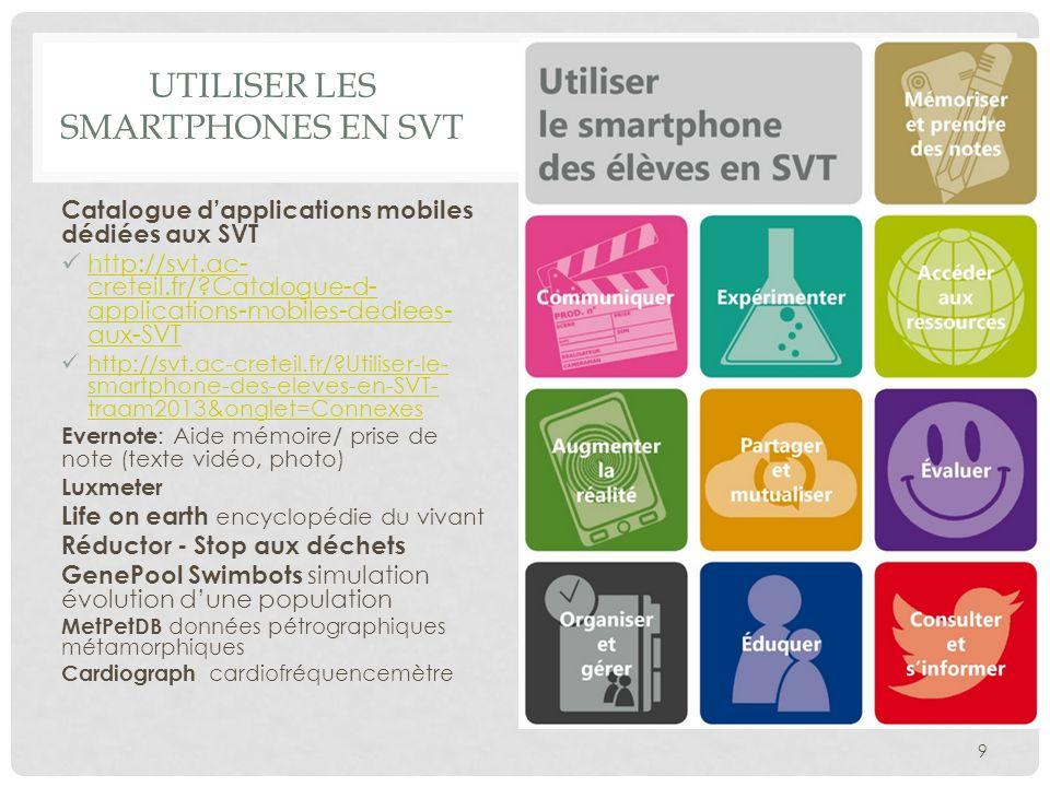 UTILISER LES SMARTPHONES EN SVT Catalogue dapplications mobiles dédiées aux SVT http://svt.ac- creteil.fr/?Catalogue-d- applications-mobiles-dediees-