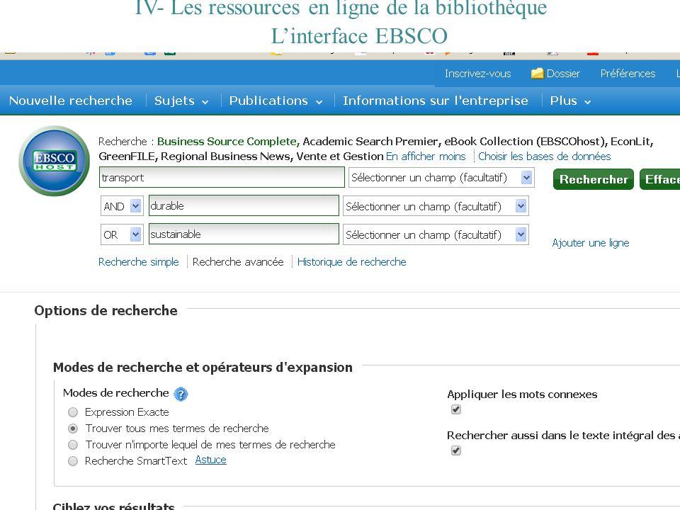 IV- Les ressources en ligne de la bibliothèque Linterface EBSCO
