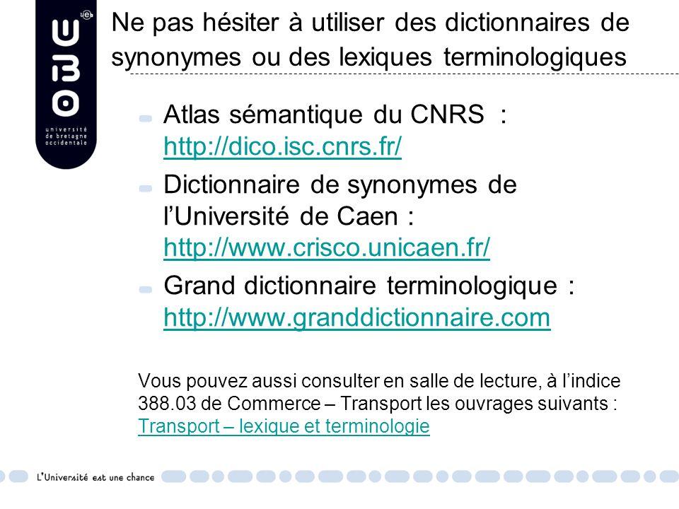 Ne pas hésiter à utiliser des dictionnaires de synonymes ou des lexiques terminologiques II-Elaborer des requêtes Se servir si besoin de dictionnaires de synonymes Atlas sémantique du CNRS : http://dico.isc.cnrs.fr/ http://dico.isc.cnrs.fr/ Dictionnaire de synonymes de lUniversité de Caen : http://www.crisco.unicaen.fr/ http://www.crisco.unicaen.fr/ Grand dictionnaire terminologique : http://www.granddictionnaire.com http://www.granddictionnaire.com Vous pouvez aussi consulter en salle de lecture, à lindice 388.03 de Commerce – Transport les ouvrages suivants : Transport – lexique et terminologie Transport – lexique et terminologie
