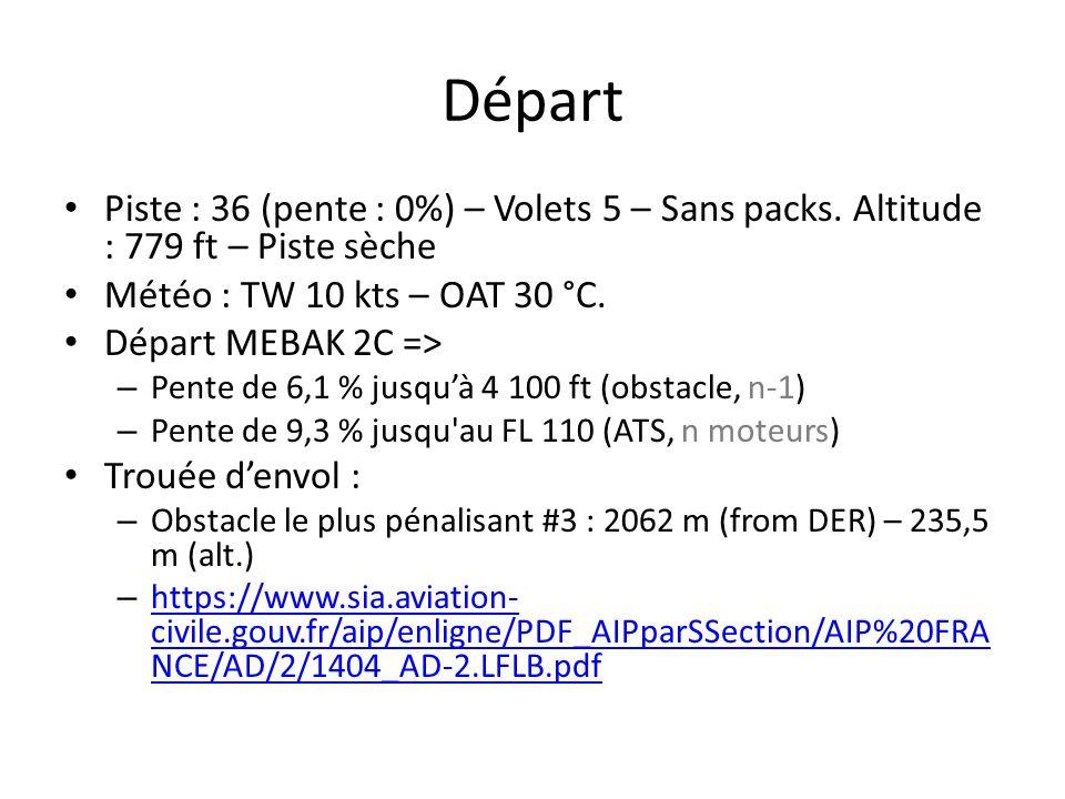 Départ Piste : 36 (pente : 0%) – Volets 5 – Sans packs. Altitude : 779 ft – Piste sèche Météo : TW 10 kts – OAT 30 °C. Départ MEBAK 2C => – Pente de 6