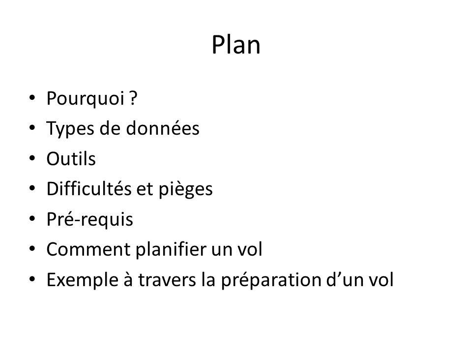 Plan Pourquoi ? Types de données Outils Difficultés et pièges Pré-requis Comment planifier un vol Exemple à travers la préparation dun vol