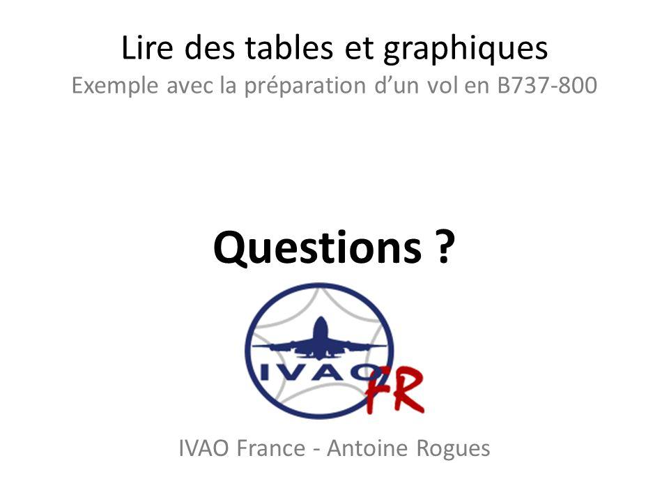 Lire des tables et graphiques Exemple avec la préparation dun vol en B737-800 Questions ? IVAO France - Antoine Rogues