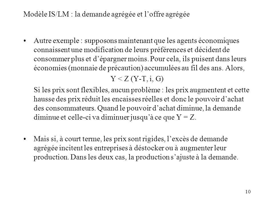 10 Modèle IS/LM : la demande agrégée et loffre agrégée Autre exemple : supposons maintenant que les agents économiques connaissent une modification de