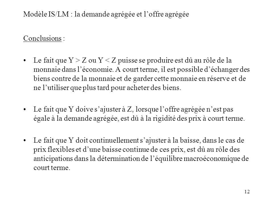 12 Modèle IS/LM : la demande agrégée et loffre agrégée Conclusions : Le fait que Y > Z ou Y < Z puisse se produire est dû au rôle de la monnaie dans l