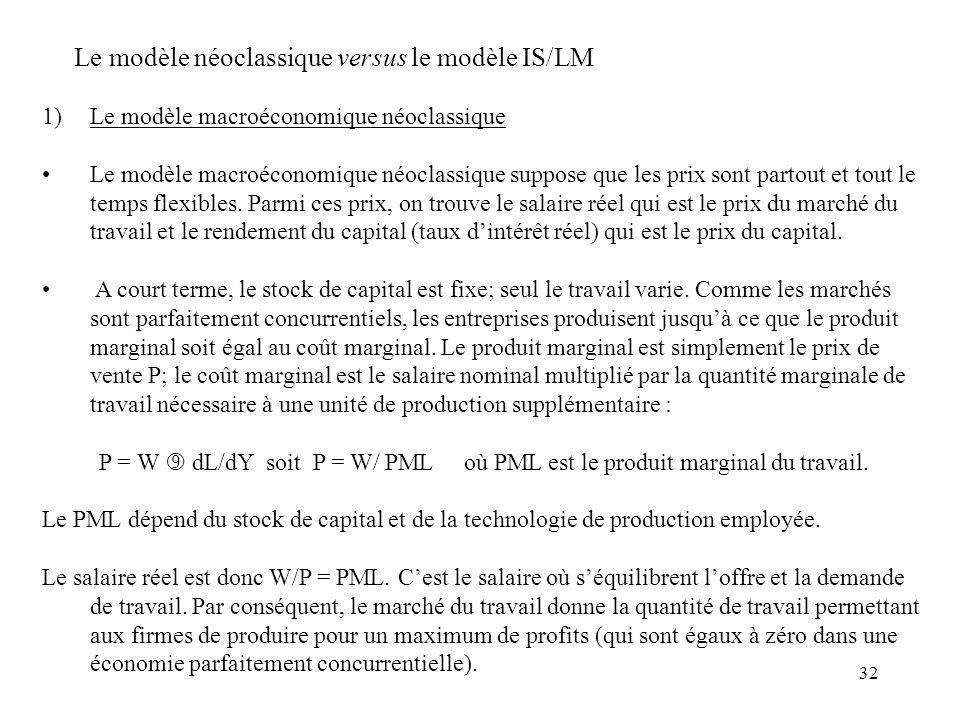 32 1)Le modèle macroéconomique néoclassique Le modèle macroéconomique néoclassique suppose que les prix sont partout et tout le temps flexibles. Parmi