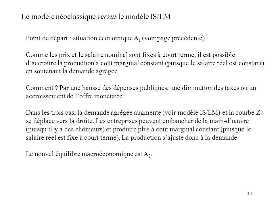 41 Point de départ : situation économique A 1 (voir page précédente) Comme les prix et le salaire nominal sont fixes à court terme, il est possible da