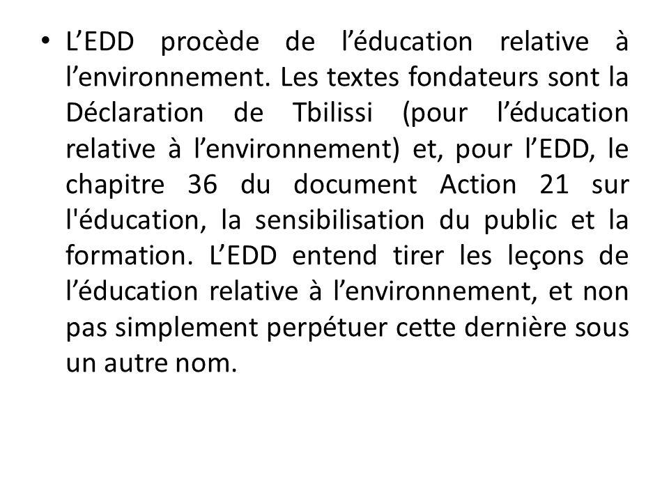 LEDD procède de léducation relative à lenvironnement.