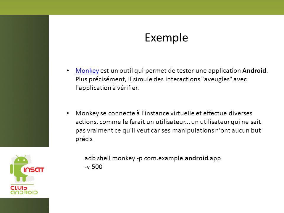 Exemple Monkey est un outil qui permet de tester une application Android. Plus précisément, il simule des interactions