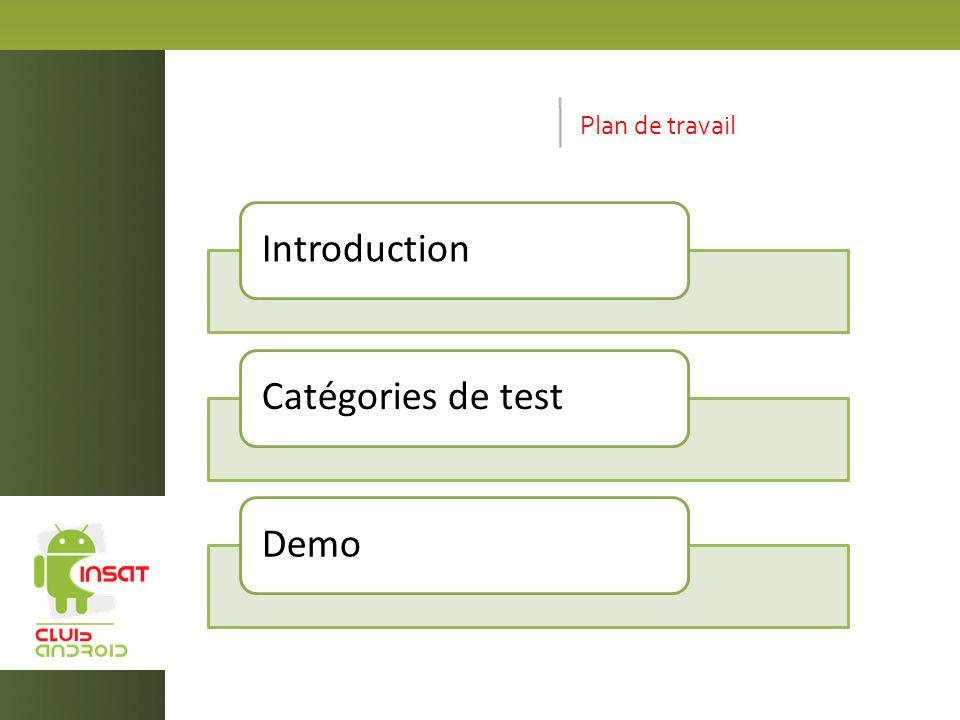 Plan de travail IntroductionCatégories de testDemo