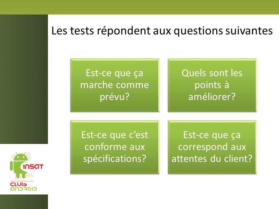 Les tests répondent aux questions suivantes Est-ce que ça marche comme prévu? Quels sont les points à améliorer? Est-ce que cest conforme aux spécific
