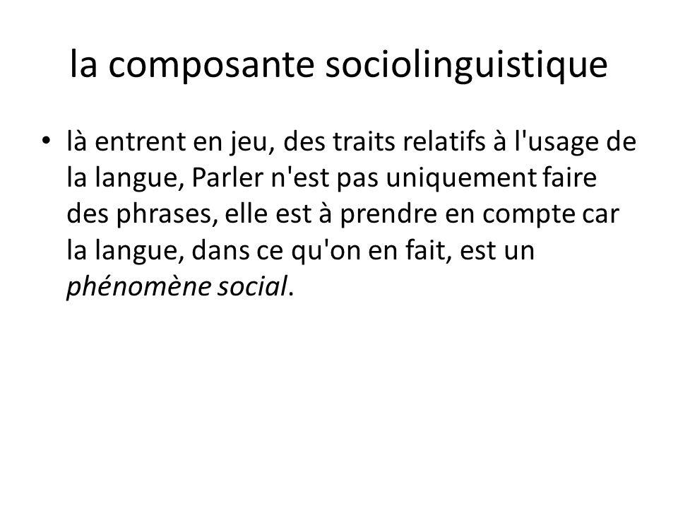 la composante sociolinguistique là entrent en jeu, des traits relatifs à l'usage de la langue, Parler n'est pas uniquement faire des phrases, elle est
