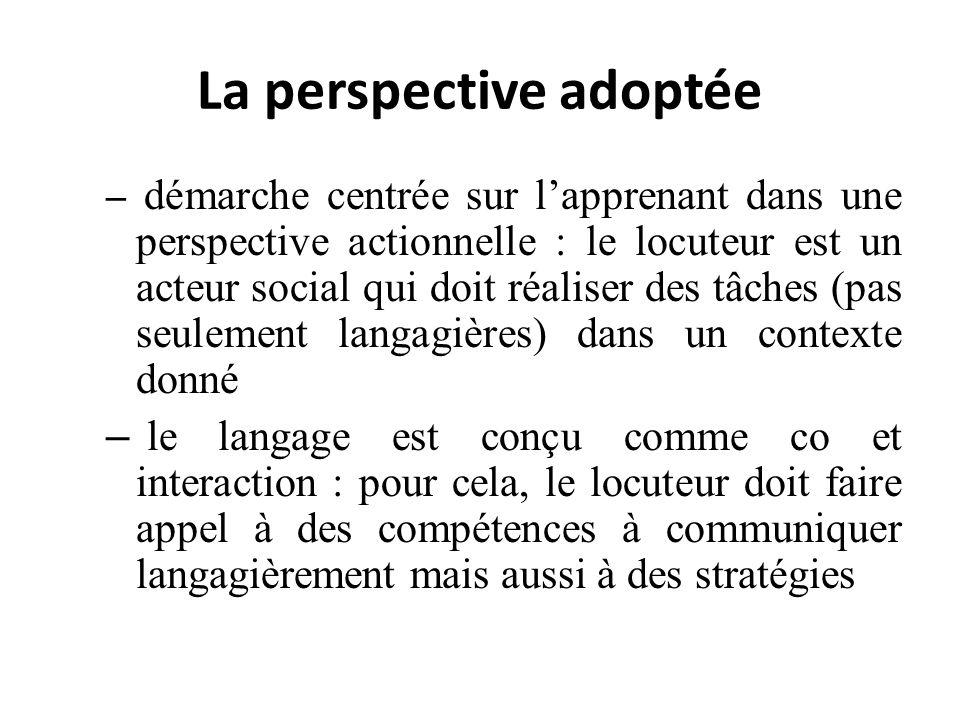 La perspective adoptée – démarche centrée sur lapprenant dans une perspective actionnelle : le locuteur est un acteur social qui doit réaliser des tâc