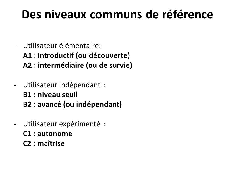 Des niveaux communs de référence -Utilisateur élémentaire: A1 : introductif (ou découverte) A2 : intermédiaire (ou de survie) -Utilisateur indépendant